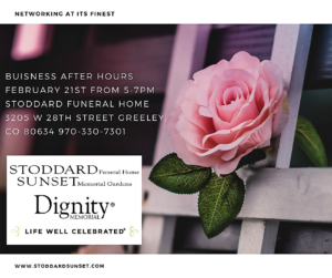 Buisness After Hours @ Stoddard Funeral Home @ Stoddard Funeral Home   Greeley   Colorado   United States