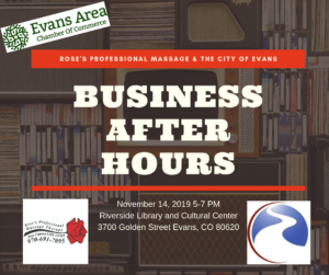 Business After Hours with Rose's Professional Massage & The City of Evans @ Riverside Library | Evans | Colorado | United States