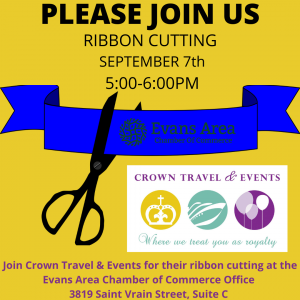 Ribbon Cutting for Crown Travel & Events, LLC @ Evans Area Chamber Of Commerce   Evans   Colorado   United States